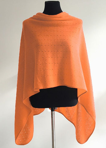 Multiwear lacy Poncho in Soft orange