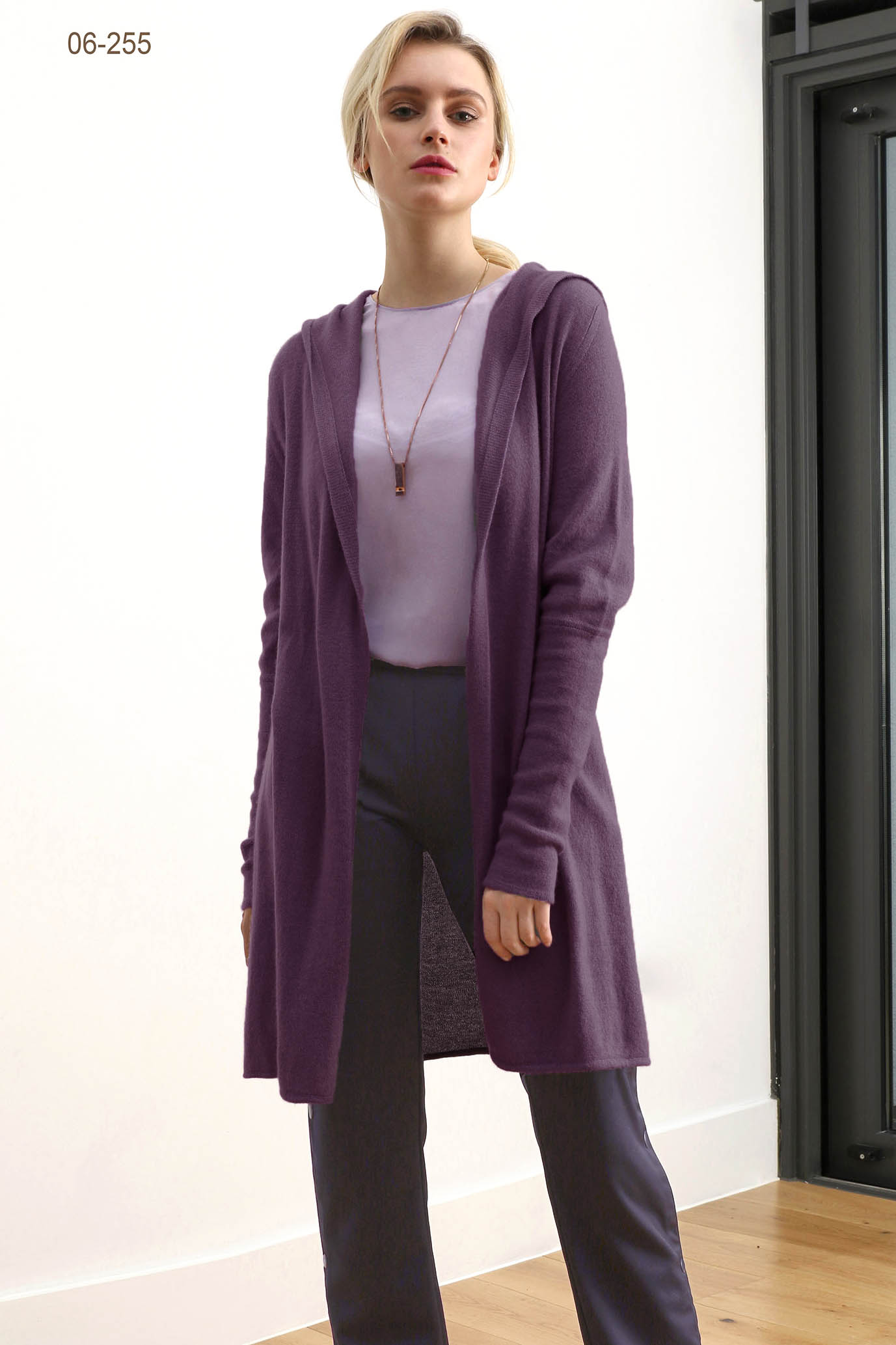 Long open hooded cashmere cardigan, cashmere Hoodie womens, plum purple cashmere cardigan | SEMON Cashmere