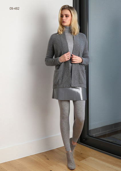 Boxy open cashmere cardigan with pockets in Mid grey | SEMON Cashmere
