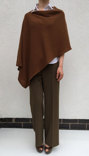 Rich brown Cashmere Poncho UK, Women Wrap, Cape, Shawls, Scarf, shawl, cardigan, light weight, summer poncho, ladies small button poncho sweater sale | SEMON Cashmere