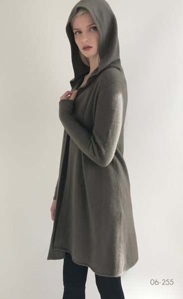 Long open hooded cashmere cardigan, cashmere Hoodie womens, khaki green cashmere cardigan | SEMON Cashmere