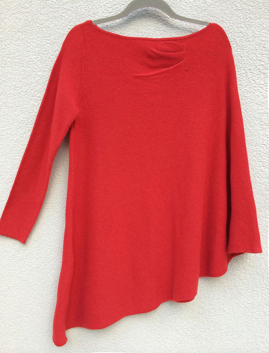 One sleeve cashmere poncho in Bright coral red