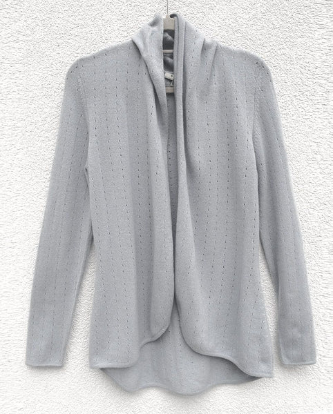 Pearl grey womens luxury Cashmere cardigan jacket, ladies light weight summer cardigan, open front tailored jacket, fitted shawl neck collared elegant cardigan sale, open V-neck sweater knit London UK | SEMON Cashmere