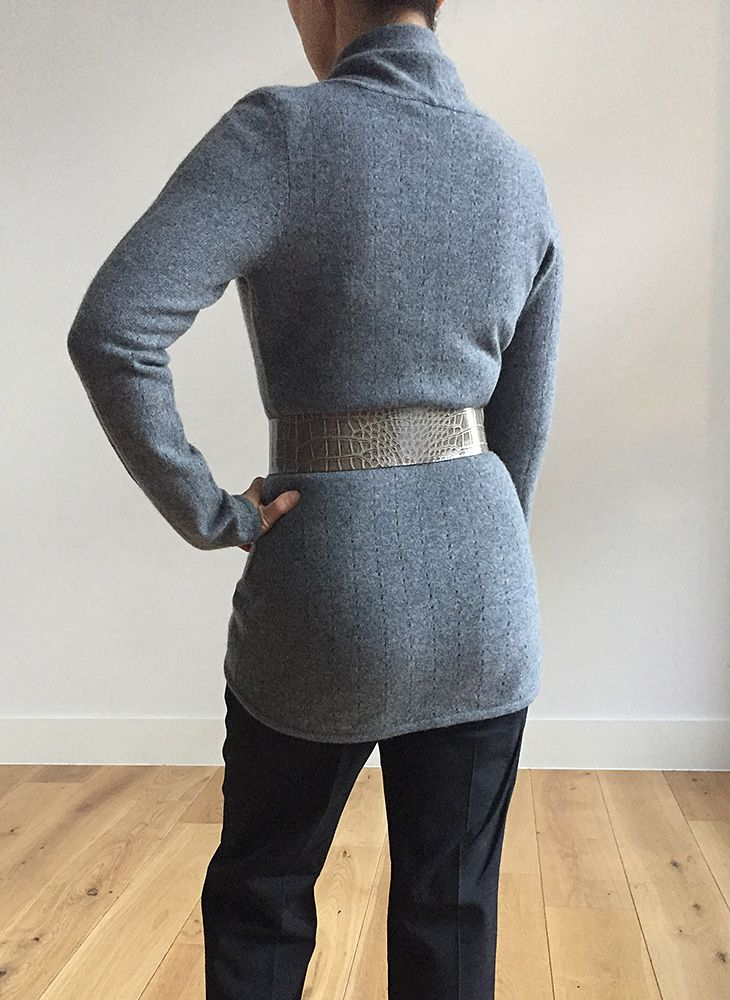 Lacy Cashmere cardigan in Mid grey