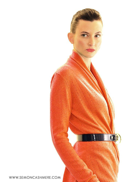 Lacy shawl neck cardigan in Orange