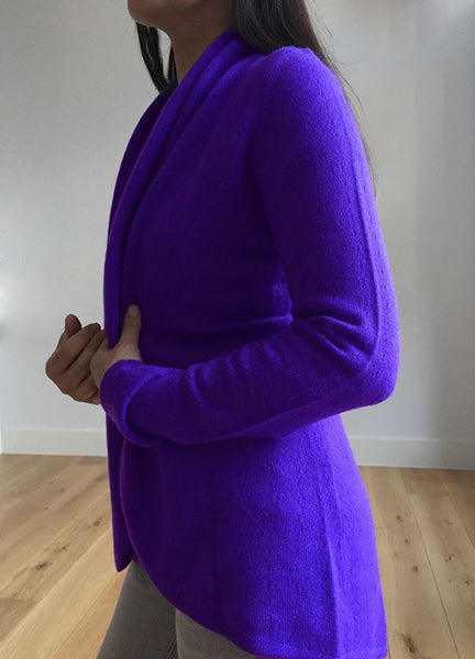 Lacy Cashmere cardigan in Violet purple
