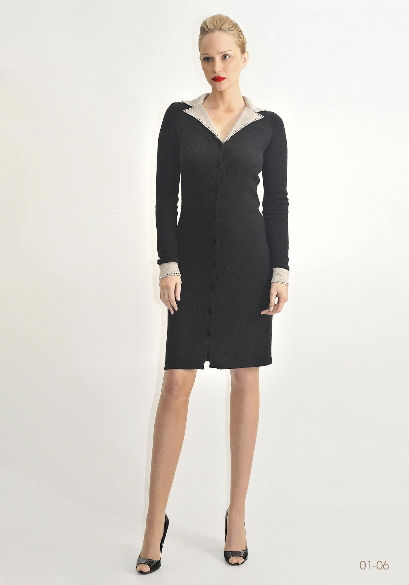 Collared button up cashmere dress