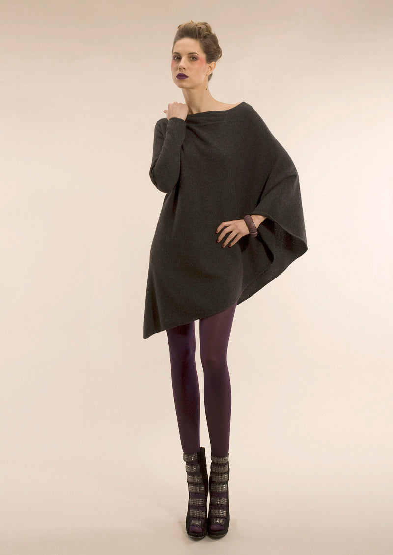 One sleeve cashmere poncho in Charcoal grey