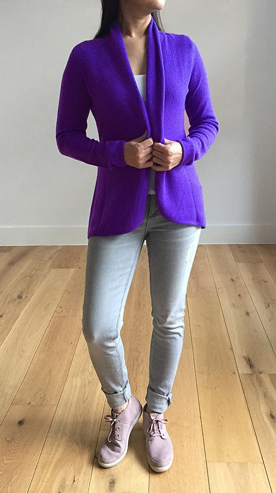 Violet purple womens luxury Cashmere cardigan jacket, ladies light weight summer cardigan, open front tailored jacket, fitted shawl neck collared elegant cardigan sale, open V-neck sweater knit London UK | SEMON Cashmere
