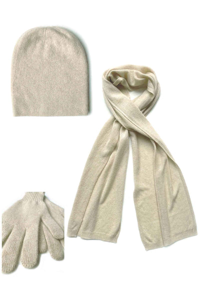 Womens 100% pure cashmere Bundle offer for hat scarf & gloves in beige| SEMON Cashmere