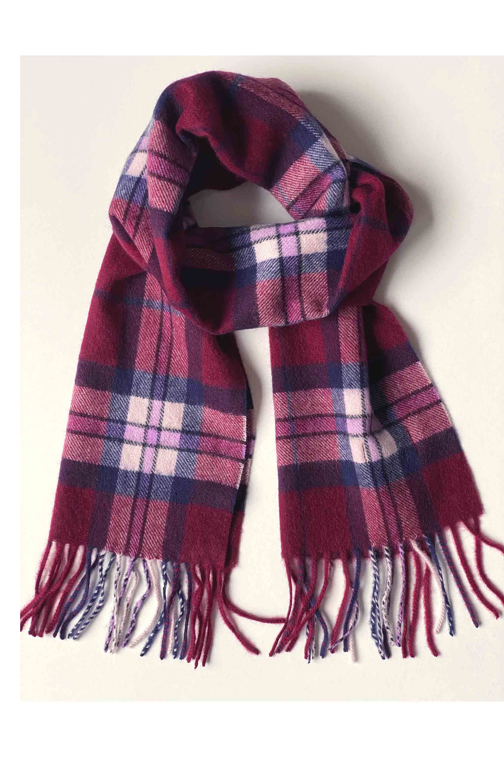 100% pure cashmere burgundy check tartan scarf for men and women unisex.