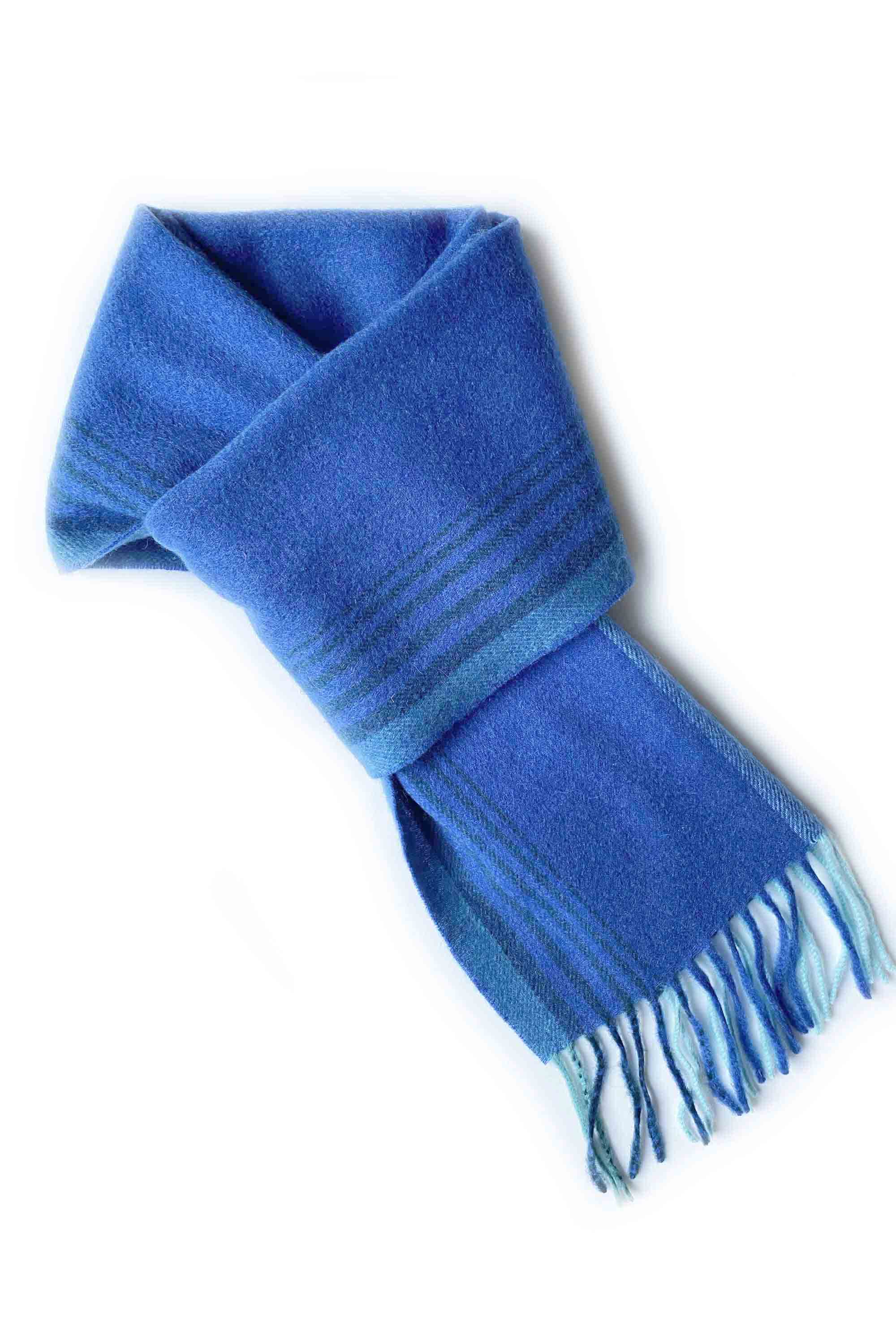 Colour block striped cashmere scarf in light blue