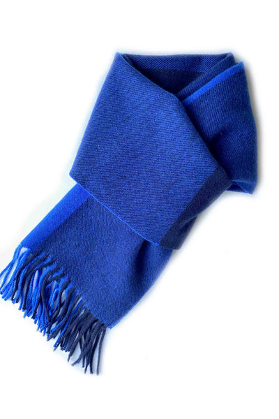 Pure cashmere colour block stripy scarf for men and women blue navy