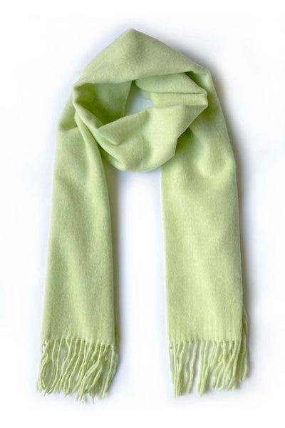 Unisex cashmere scarf with fringes in light yellow green