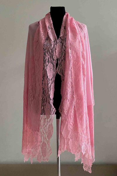 Cashmere pashmina shawl with laces in pink