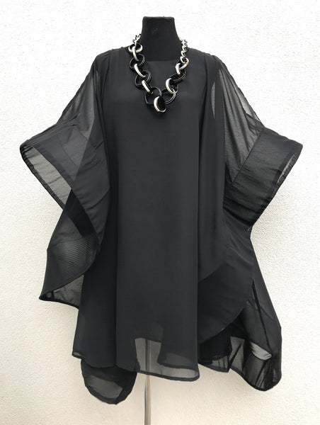 Flamingo dress cape wrap oversized sweater Large poncho black