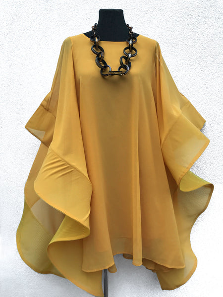 Flamingo dress cape wrap oversized sweater Large poncho mustard