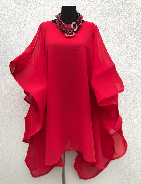 Flamingo dress cape wrap oversized sweater Large poncho red