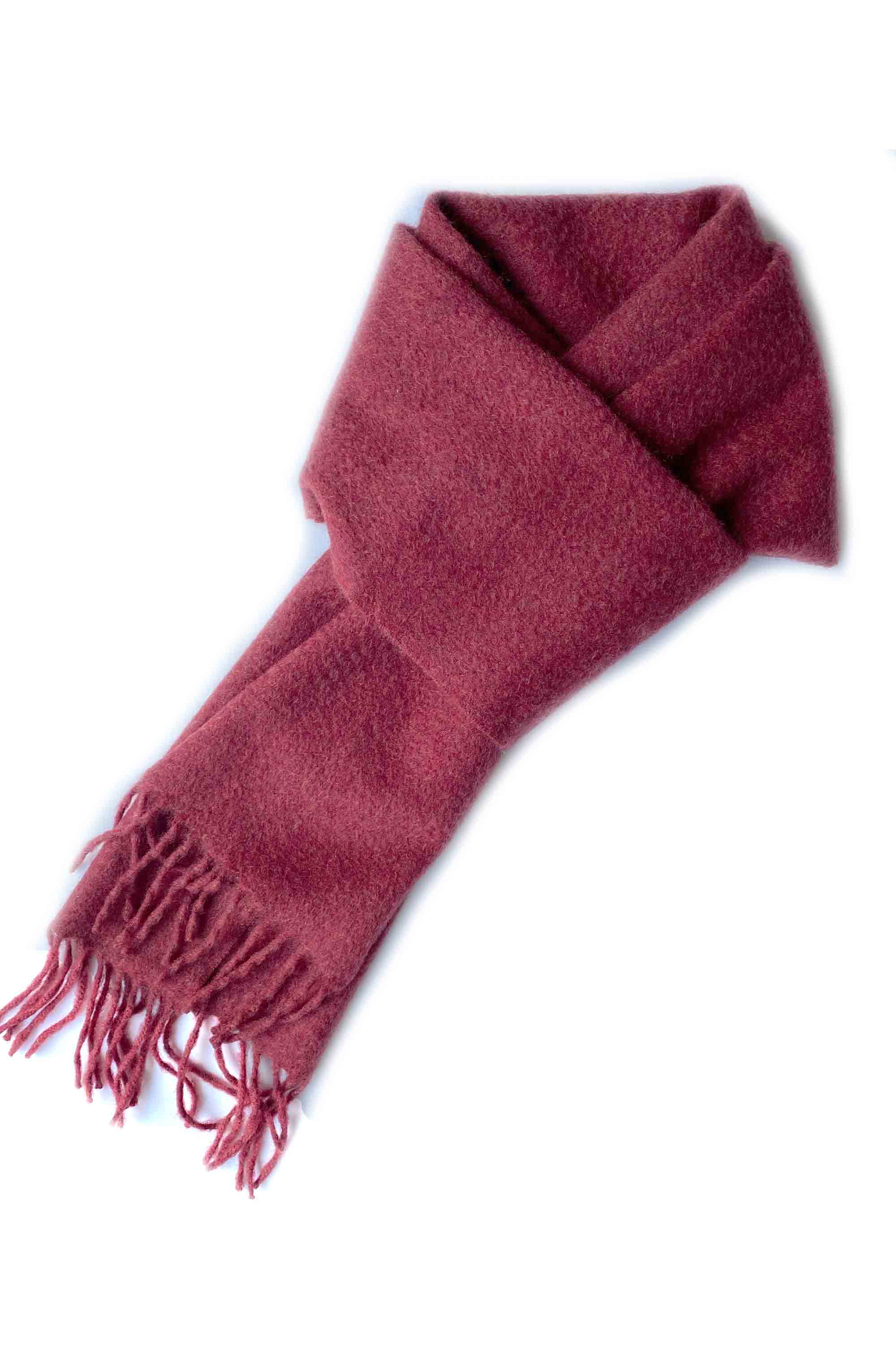 Unisex cashmere scarf with fringes in burgundy for men women
