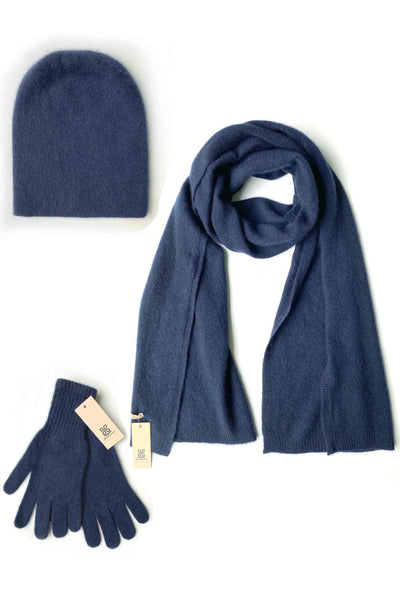 Womens 100% pure cashmere Bundle offer for hat scarf & gloves in navy | SEMON Cashmere