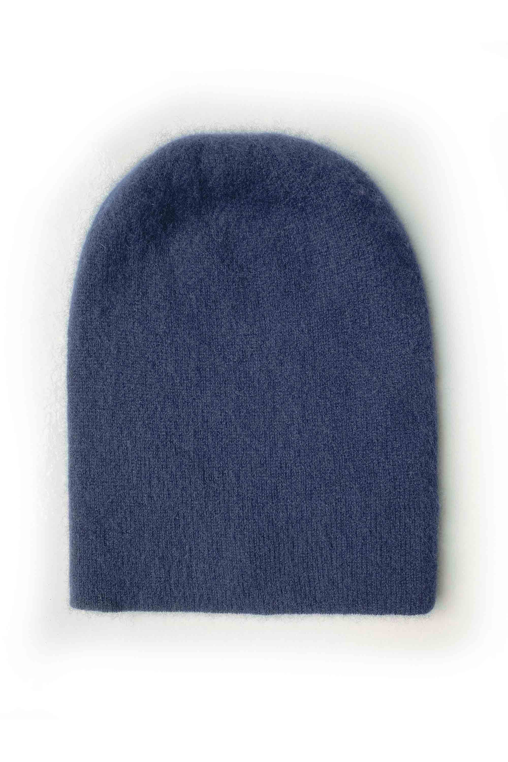 Womens 100% pure cashmere hat in navy blue | SEMON Cashmere
