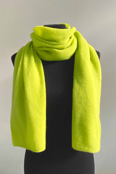 Lightweight cashmere scarf in neon yellow green