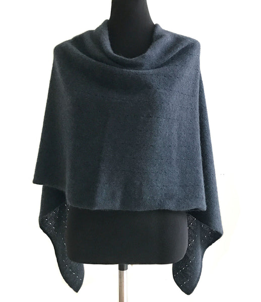 Ink navy cashmere poncho | Multiway lacy poncho with buttons