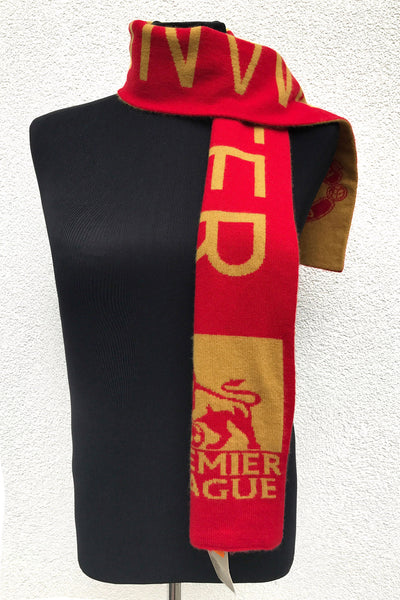 Medium sized jacquard knitted cashmere scarf for men.  Rare high quality double layered intarsia cashmere - great gift for Manchester United fan.