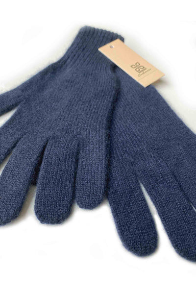 Womens 100% pure cashmere gloves in navy | SEMON Cashmere
