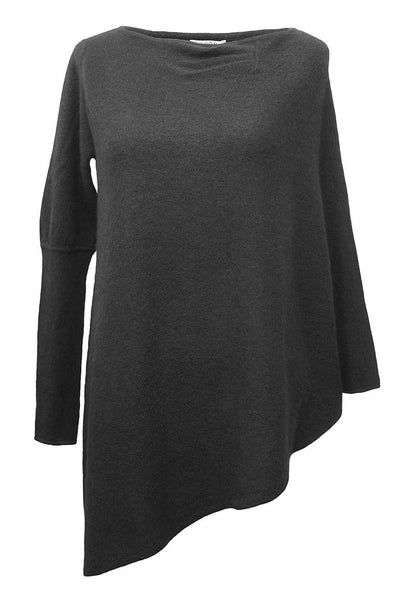 SEMON Cashmere one sleeve poncho black jumper sweater tunic