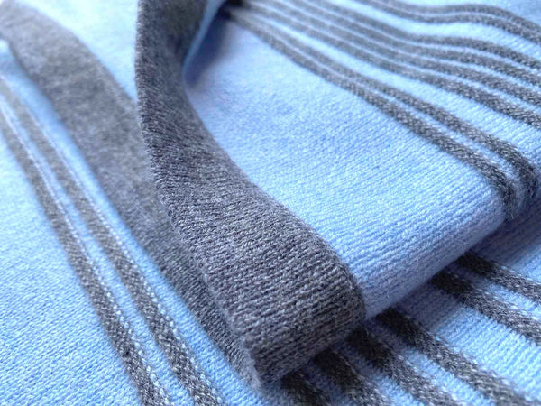 Cashmere baby blanket for boys in blue and grey