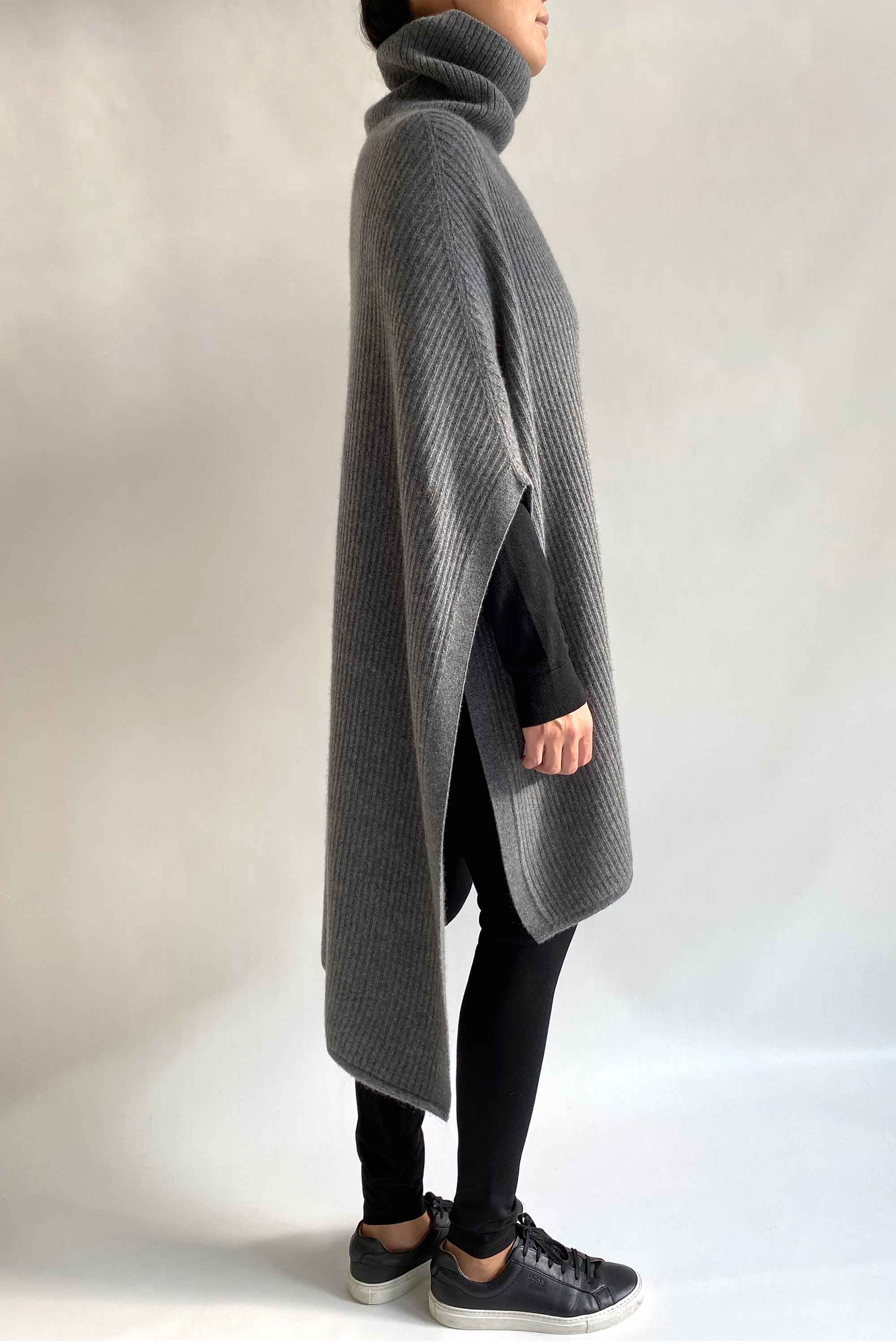 Cashmere Chunky Sweater Poncho with roll neck in Mid grey