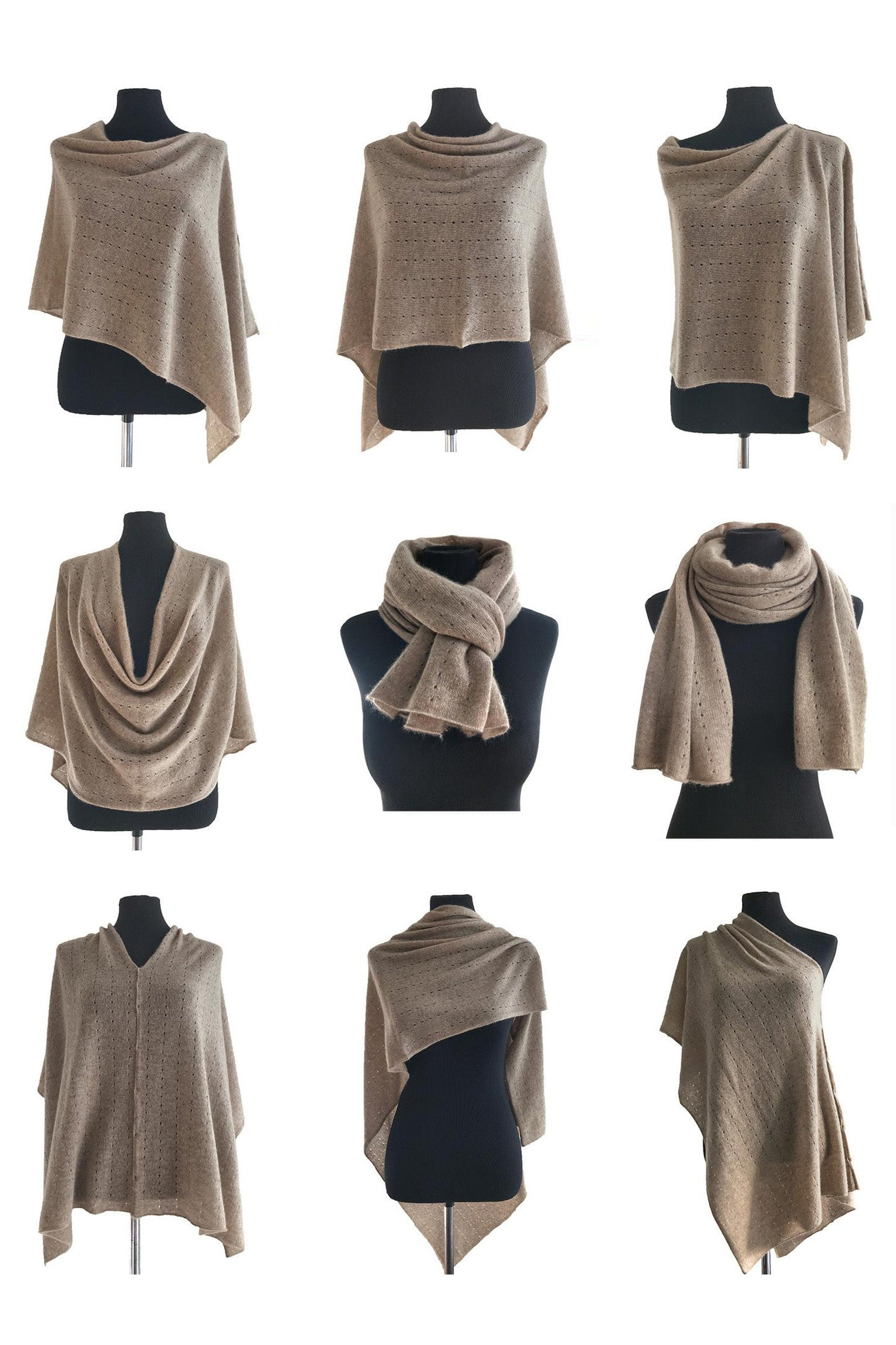 Multiwear cashmere Poncho in pale grey