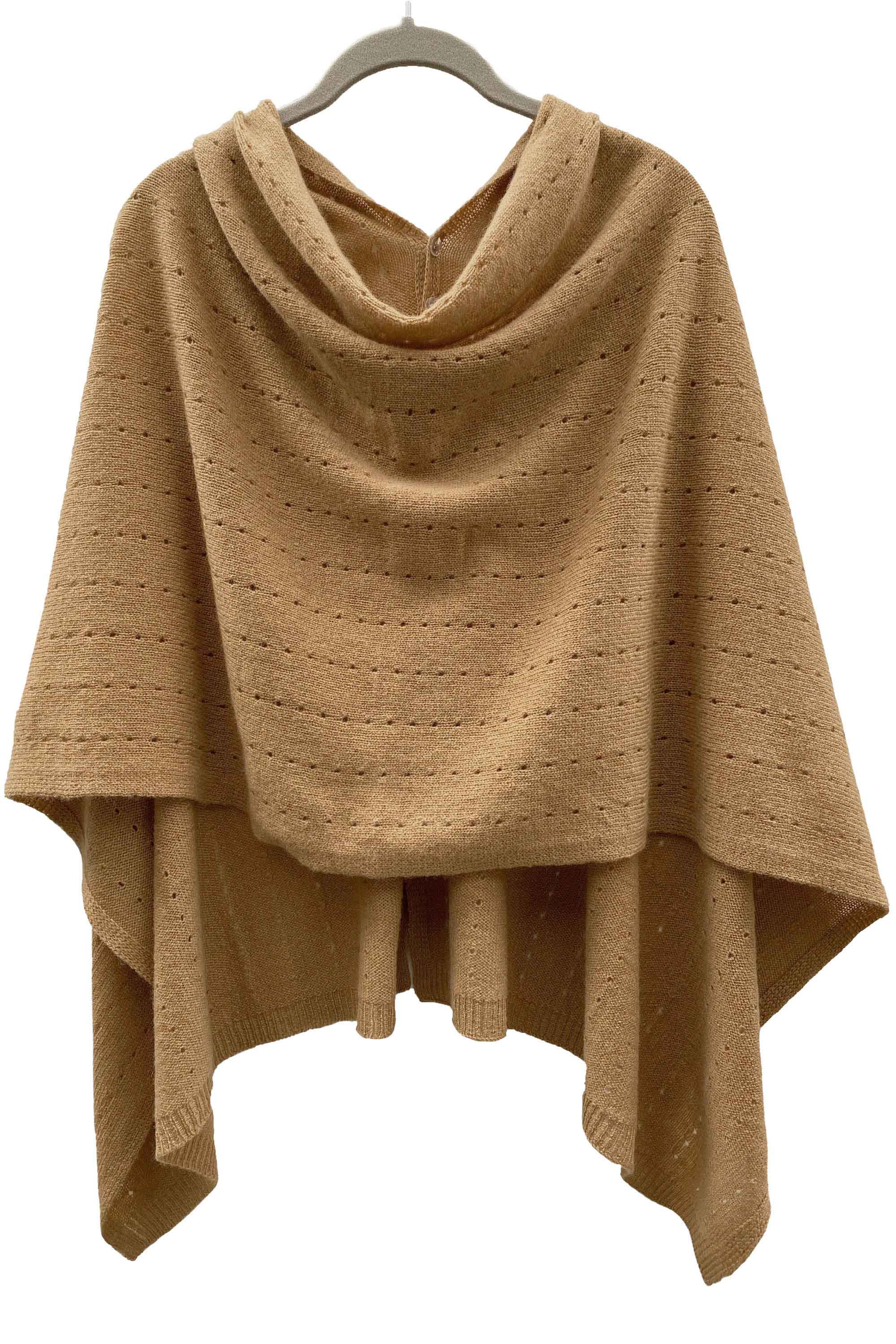 Camel Cashmere Poncho UK beige Women Wrap Cape Shawls Scarf shawl cardigan light weight multiwear poncho ladies small button poncho sweater damen sale | SEMON Cashmere