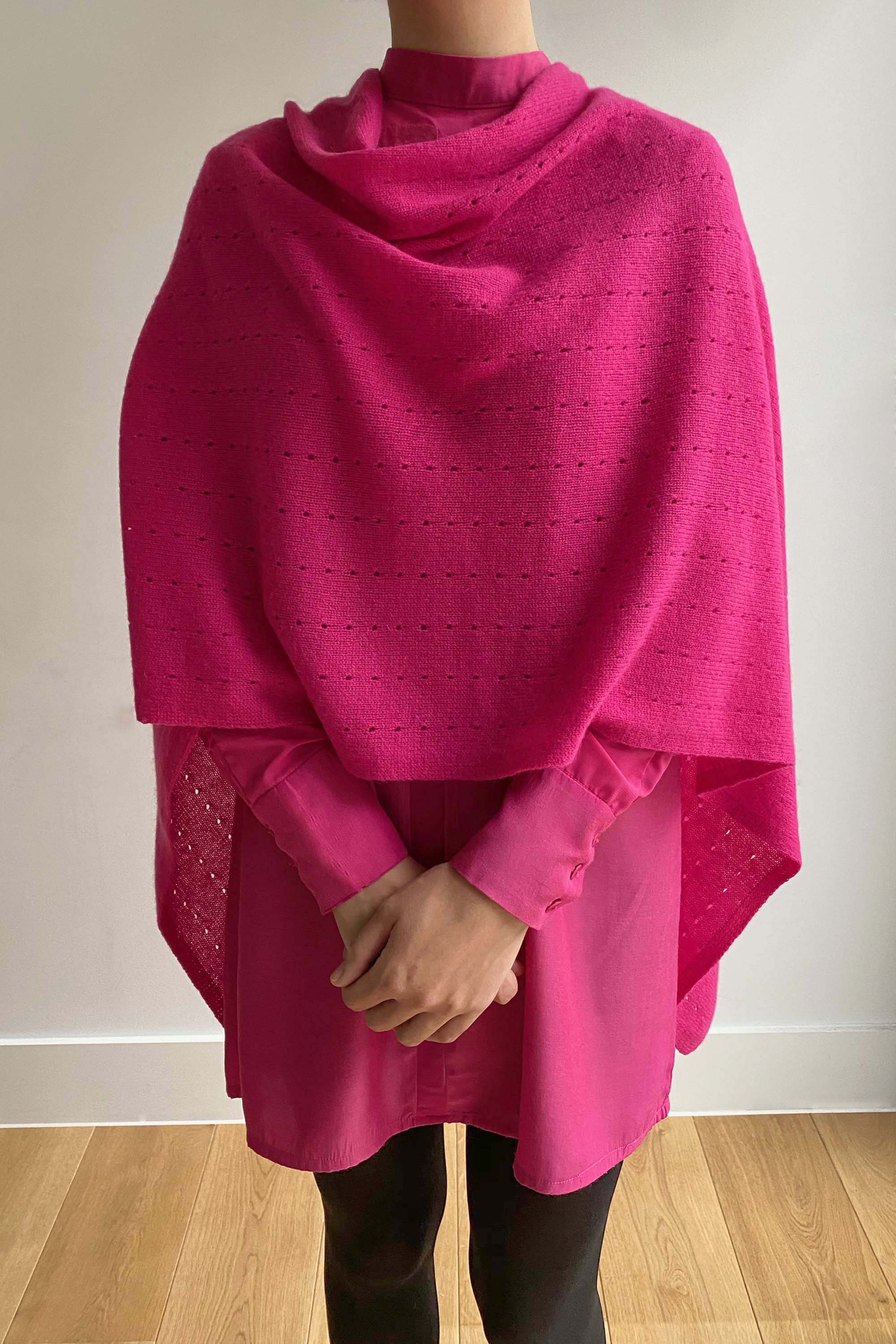 Cerise pink cashmere poncho | Multiway lacy poncho with buttons