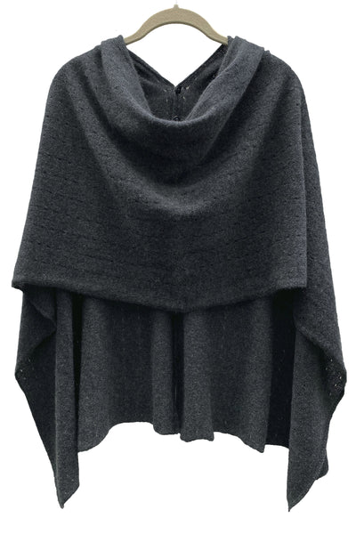 Charcoal grey Cashmere Poncho London UK, Women Wrap, Multiway damen Cape, Shawls, Scarf, shawl, cardigan, light weight poncho sale | SEMON Cashmere