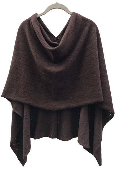 Chocolate brown Cashmere Poncho London UK, Women Wrap, Multiway damen Cape, Shawls, Scarf, shawl, cardigan, light weight poncho sale | SEMON Cashmere
