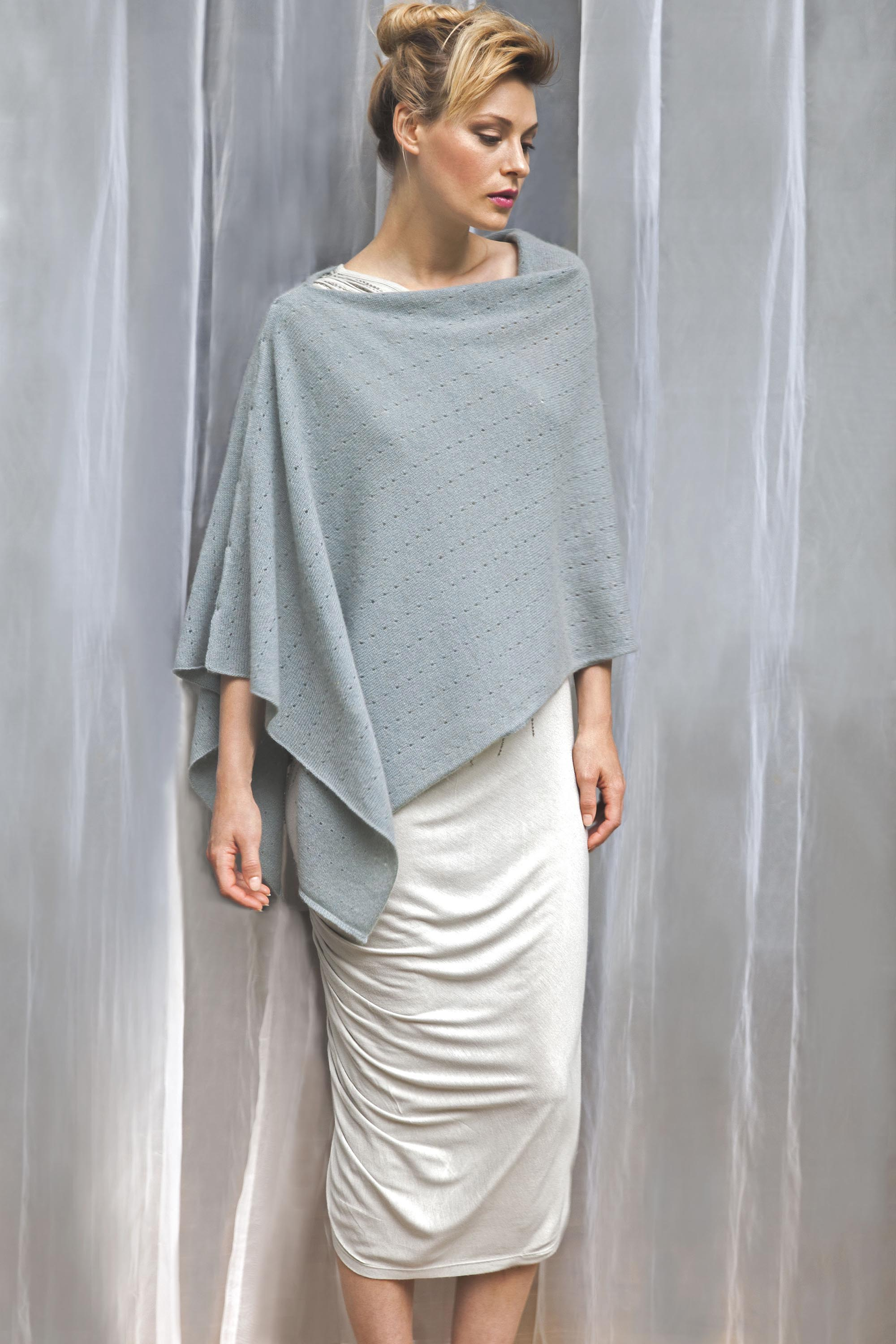 Winter white cashmere poncho | Multiway lacy poncho with buttons