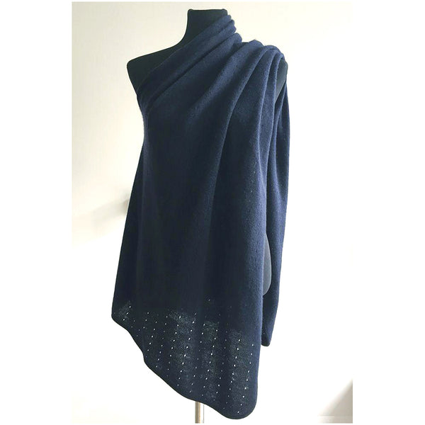 Navy Cashmere Poncho UK, Women Wrap, Cape, Shawls, Scarf, shawl, cardigan, light weight, summer poncho, ladies small button poncho sweater sale | SEMON Cashmere