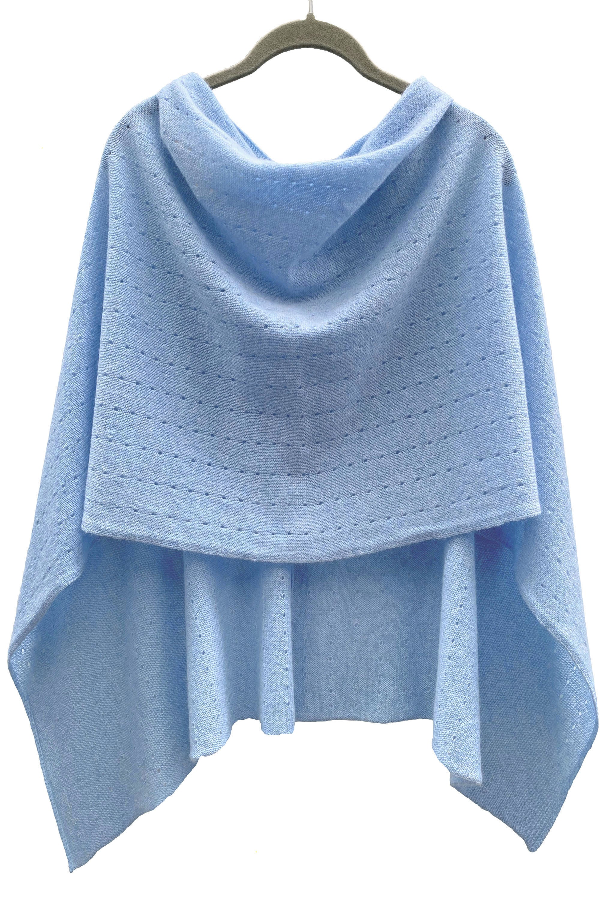 Powder blue Cashmere Poncho UK, Women Wrap, Cape, Shawls, Scarf, shawl, cardigan, light weight, summer poncho, ladies small button poncho sweater sale | SEMON Cashmere