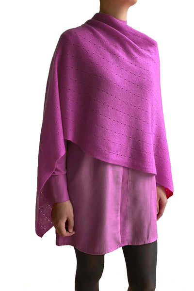 Raspberry pink cashmere poncho | Multiway lacy poncho with buttons