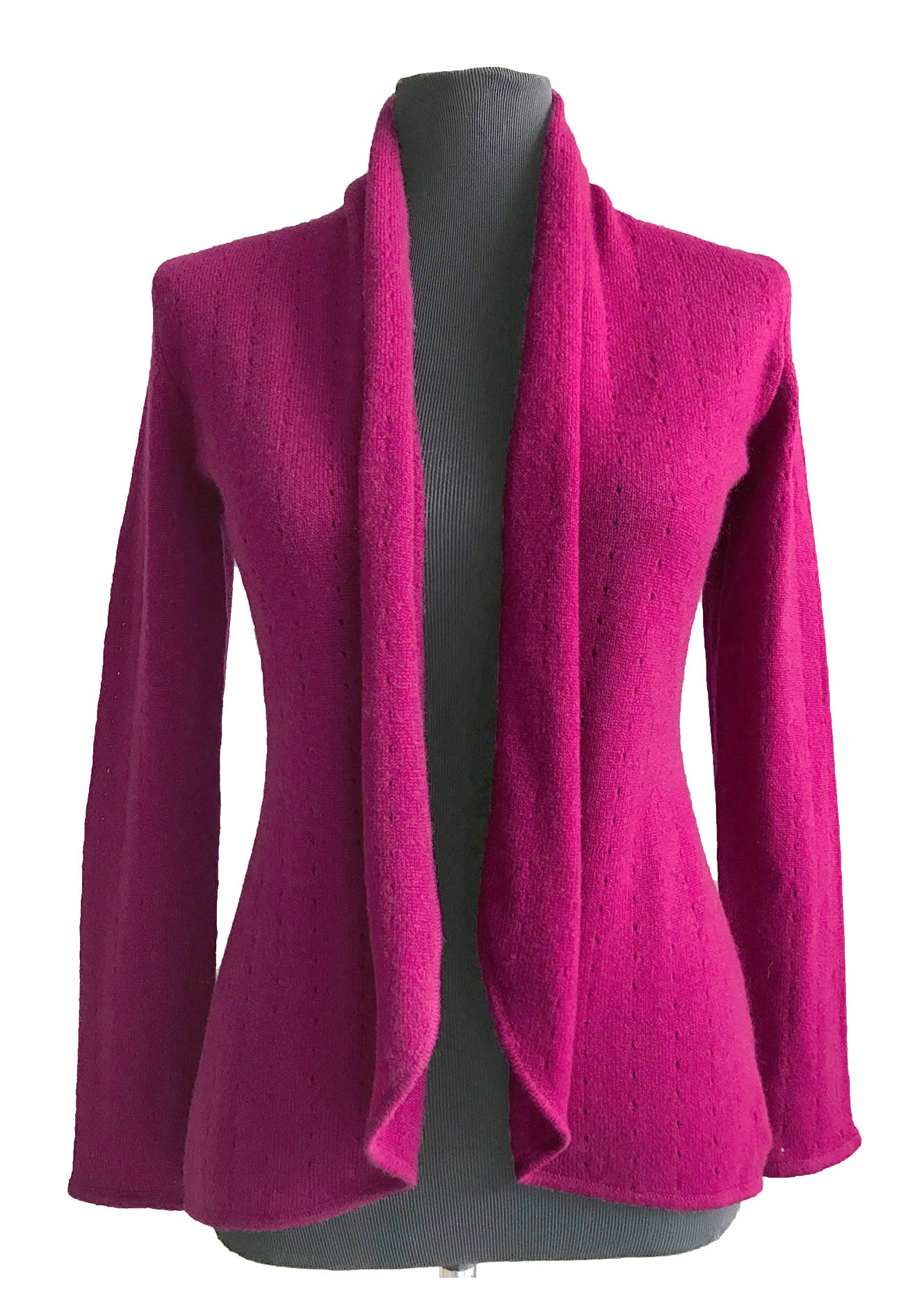 Cherry pink women's luxury Cashmere cardigan jacket, cherry red ladies light weight summer cardigan, open front tailored jacket, fitted shawl neck collared elegant cardigan sale, open V-neck sweater knit London UK | SEMON Cashmere