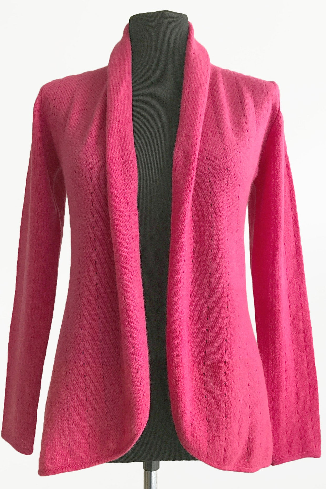 Rose pink womens luxury Cashmere cardigan jacket, ladies light weight summer cardigan, open front tailored jacket, fitted shawl neck collared elegant cardigan sale, open V-neck sweater knit London UK | SEMON Cashmere