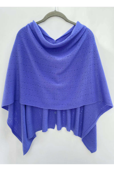 Iris periwinkle Cashmere Poncho UK, lavender purple Women Wrap, Cape, Shawls, Scarf, shawl, cardigan, light weight, summer poncho, ladies small button poncho sweater sale | SEMON Cashmere