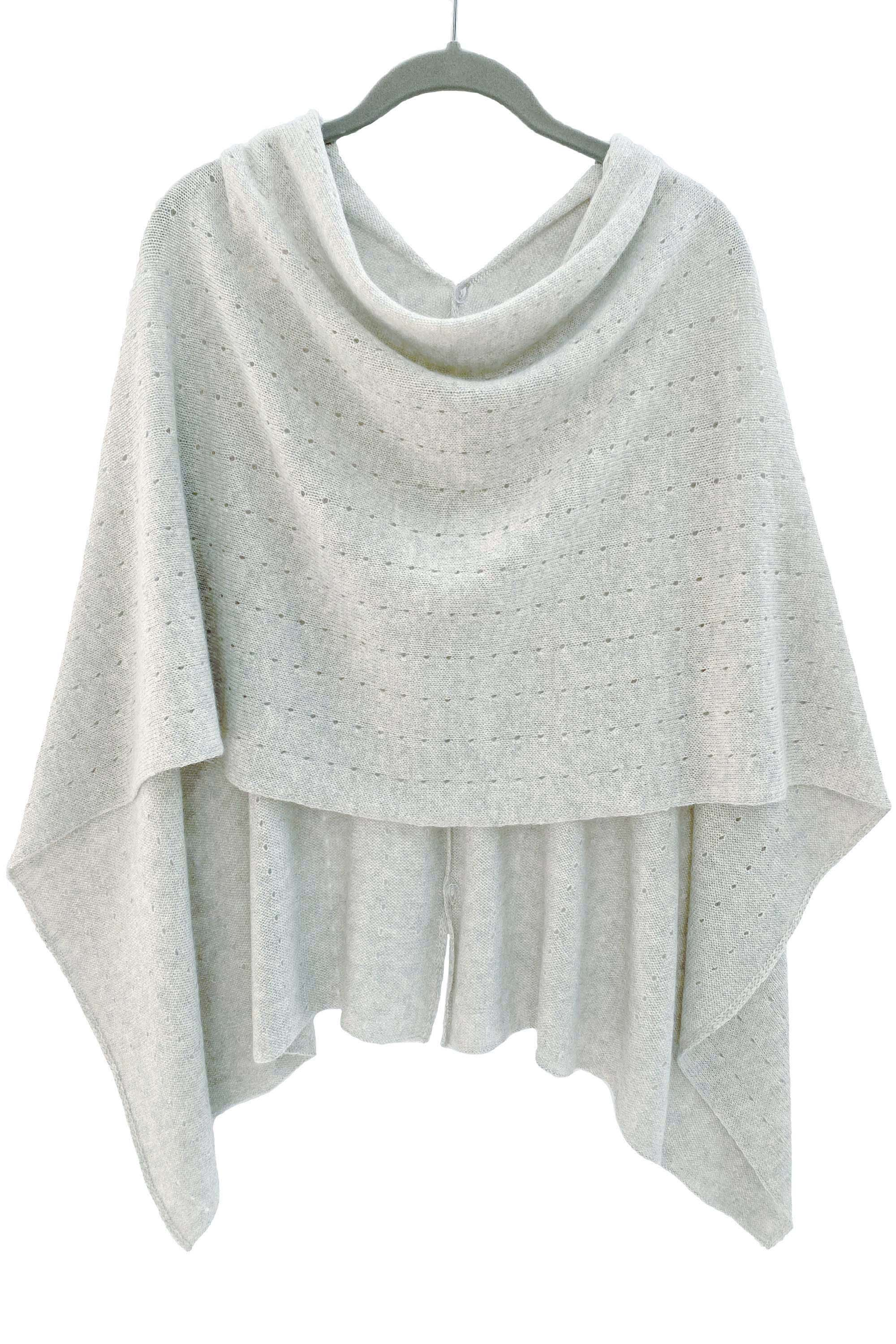 Pale grey Cashmere Poncho UK Women damen Wrap Cape Shawls Scarf shawl cardigan light weight poncho ladies small button poncho sweater sale anniversary gift wedding present| SEMON Cashmere