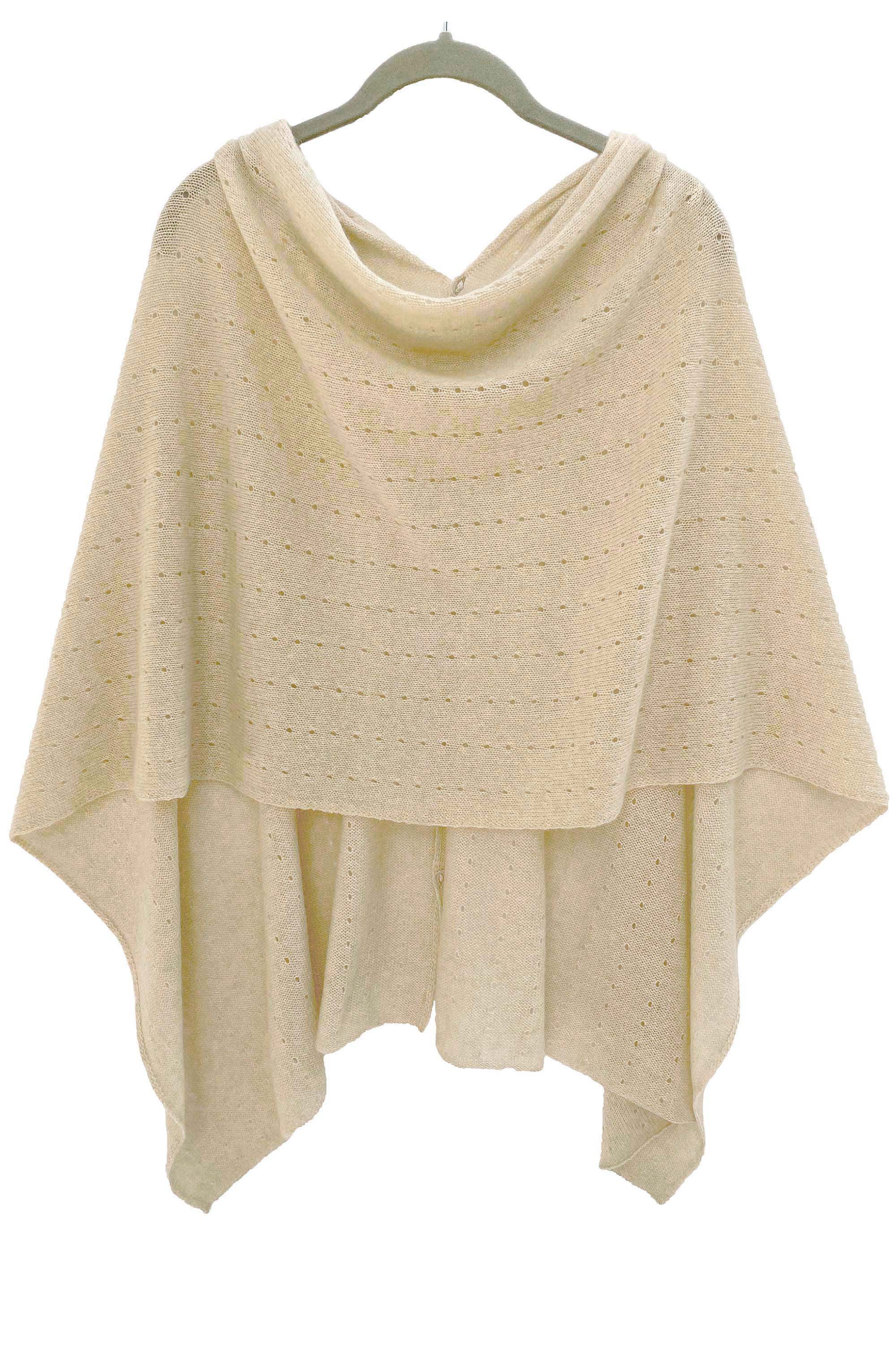 Beige cashmere poncho | Multiway lacy poncho with buttons