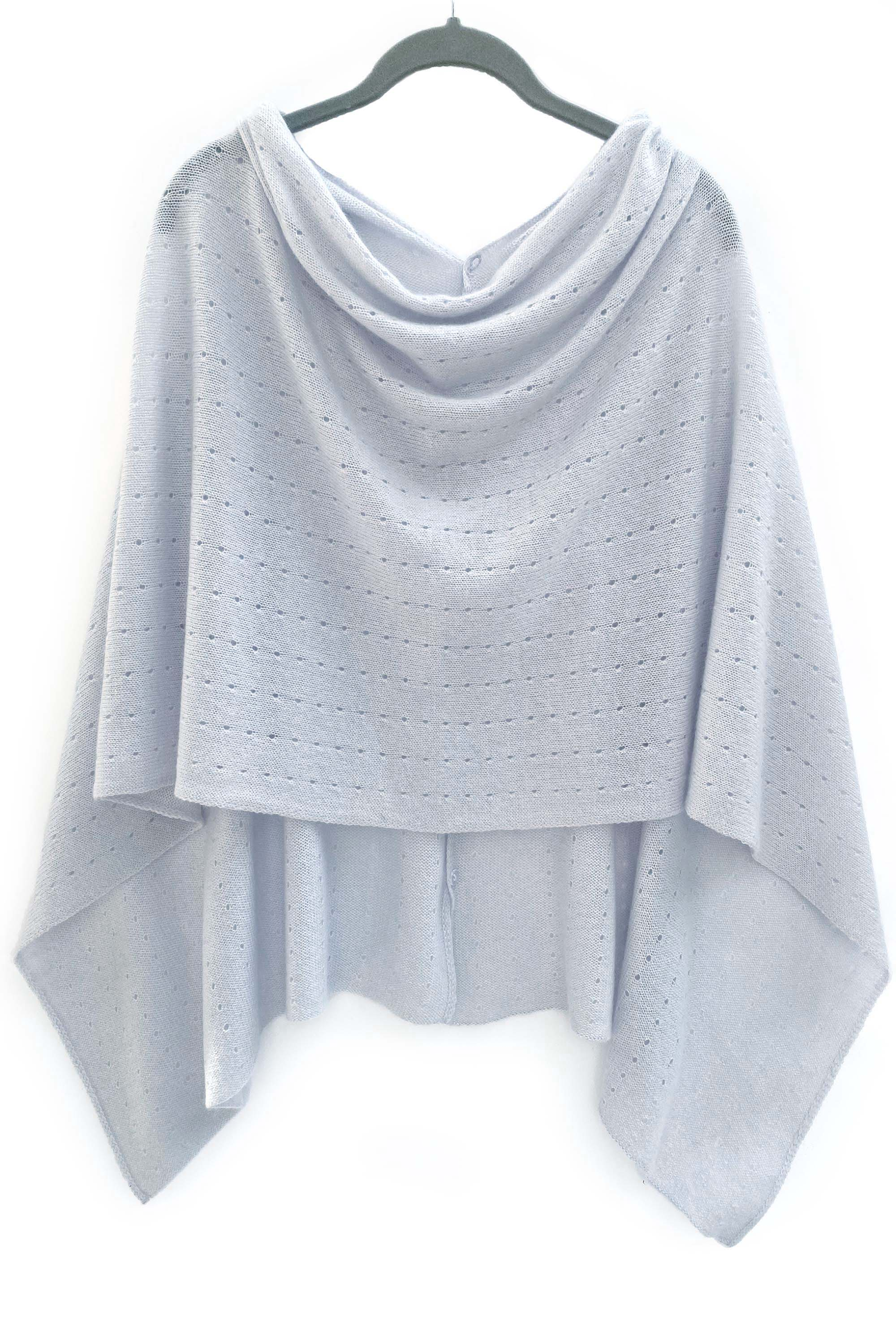 Pale blue Cashmere Poncho UK Women damen Wrap Cape Shawls Scarf shawl cardigan light weight ice blue poncho ladies small button poncho sweater sale anniversary gift wedding present| SEMON Cashmere