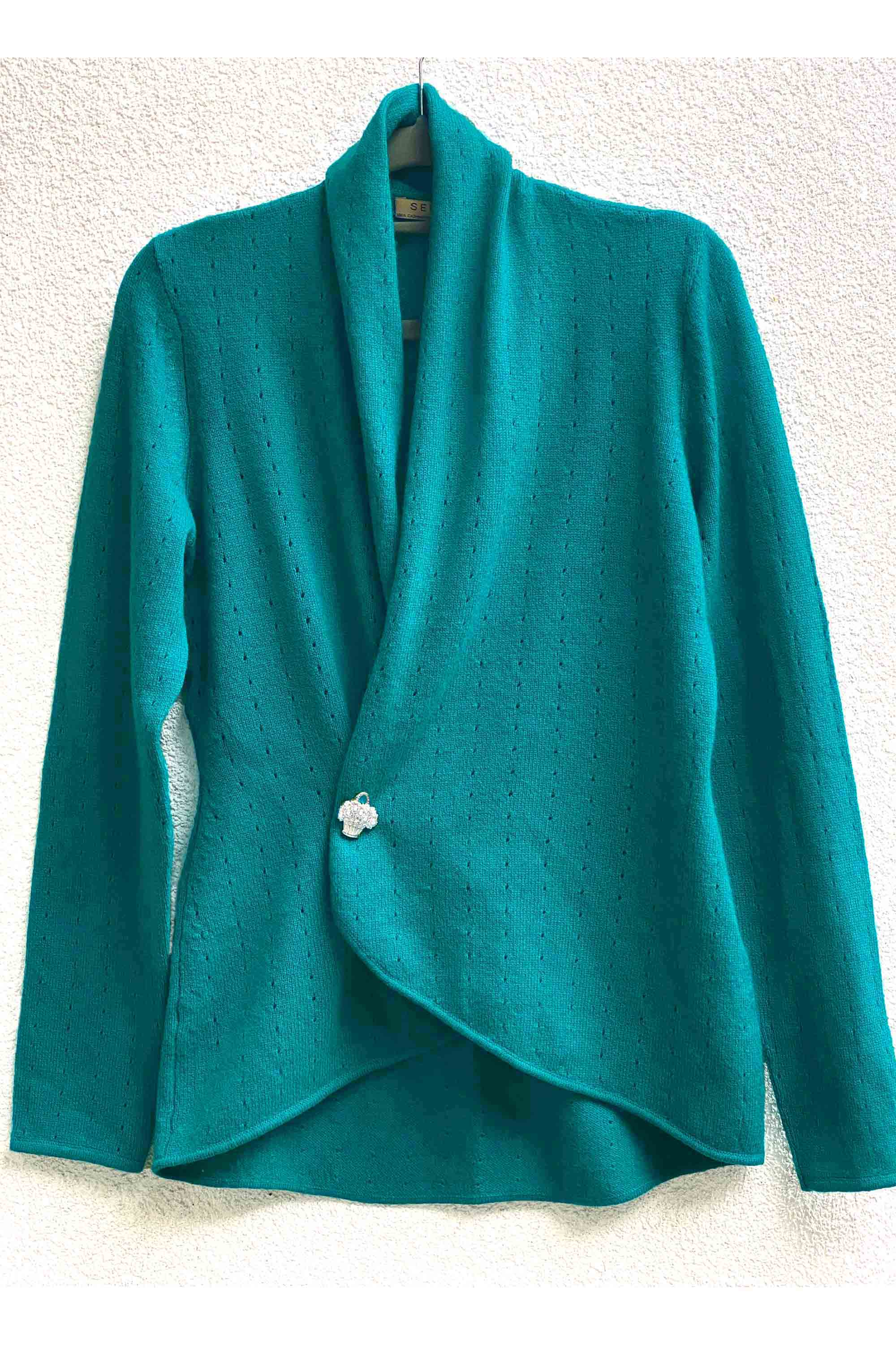 Dark turquoise women's luxury Cashmere cardigan jacket, blue green ladies light weight summer cardigan, open front tailored jacket, fitted shawl neck collared elegant cardigan sale, open V-neck sweater knit London UK | SEMON Cashmere