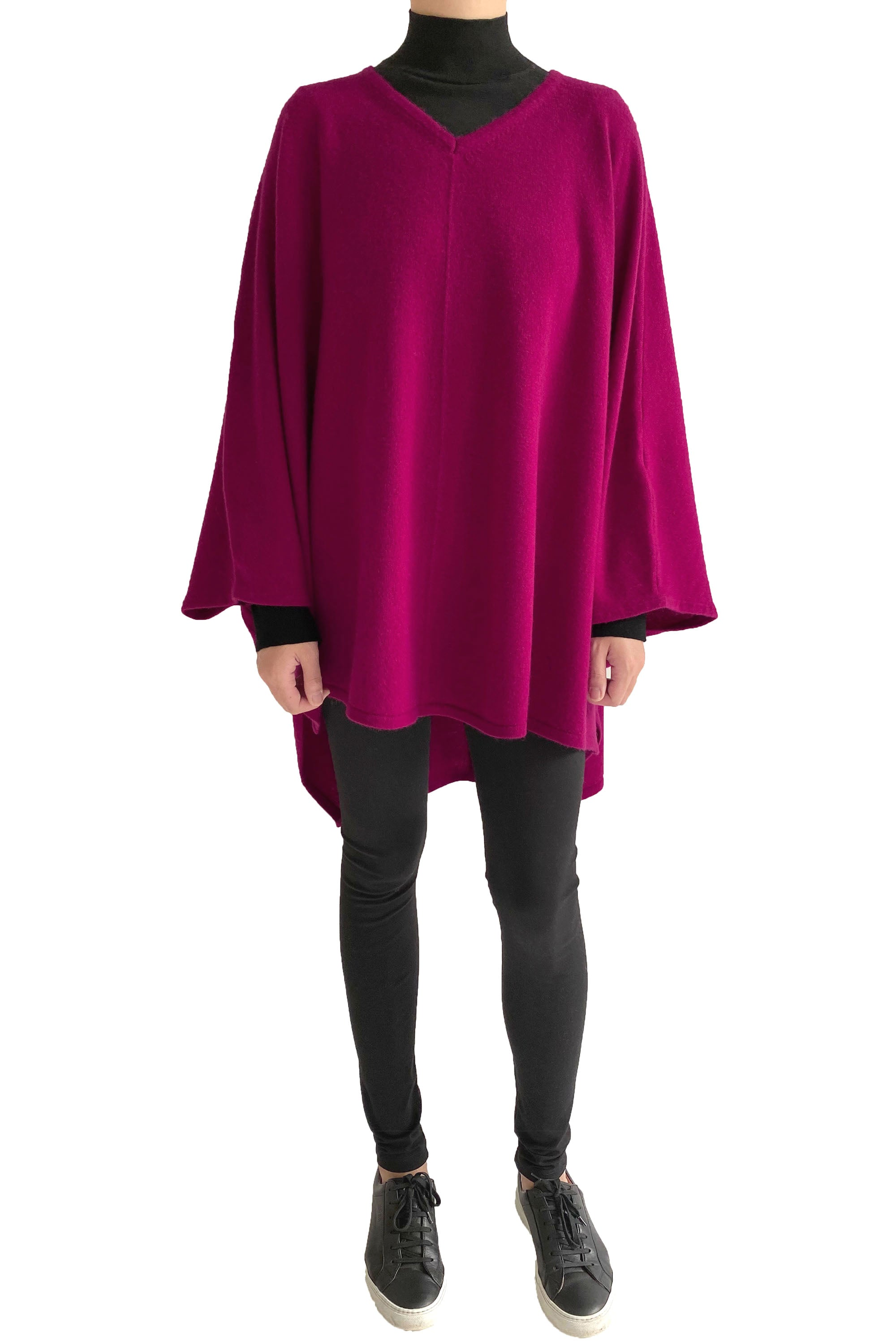 Cashmere Oversized Jumper Poncho in Cherry pink