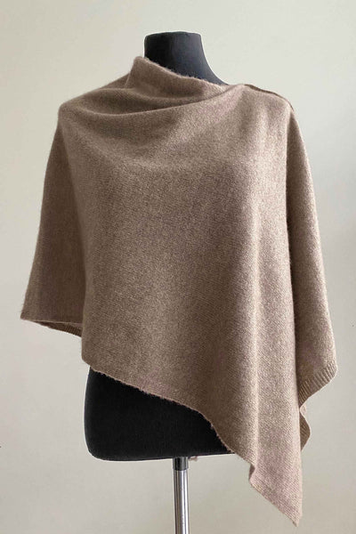 Plain Cashmere Poncho in Biscuit stone natural beige | Multiway lightweight poncho wrap scarf pashmina shawl stole with buttons